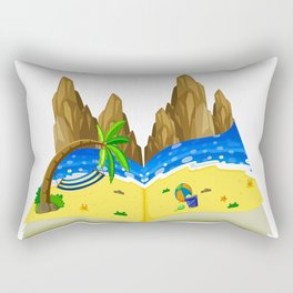 Turn the page Yellow blue The beach  summer colors the sea Summer Holiday Rectangular Pillow