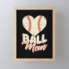 Baseball & Softball Mom - Cute Heart Mother Gift Framed Mini Art Print