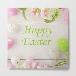 Happy Easter Farmhouse Style Eggs and Whitewashed Boards with Flowers Metal Print
