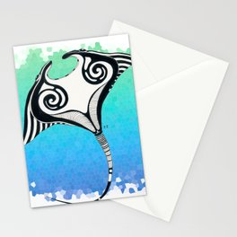 Manta Ray Tribal Tattoo Ink Teal Blue Stationery Cards