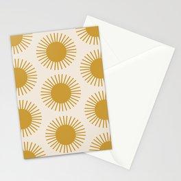 Golden Sun Pattern Stationery Cards
