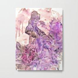Angel Flower Crown And Cross Metal Print