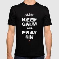 Keep Calm And Pray On MEDIUM Black Mens Fitted Tee