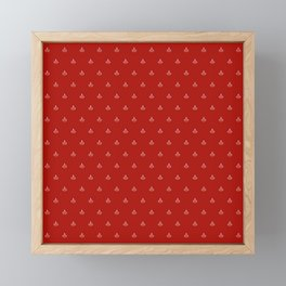 Maritime small Nautical Red and White Anchor Pattern 1 - Anchors Framed Mini Art Print