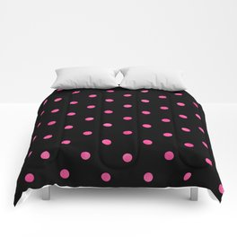 Yummy Hot Pink Dot Pattern on Black Comforters