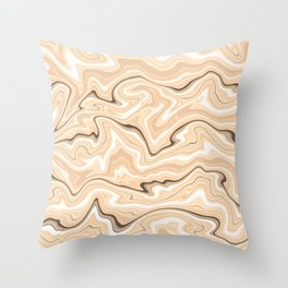 Cappuccino marble stone pattern, abstract soft coffee shades illustration Throw Pillow