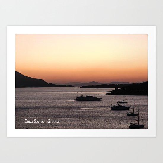 Cape Sounio at Dusk Art Print