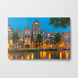 Amsterdam Canal With Dutch Houses at Night Metal Print