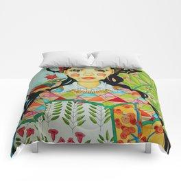 Girl and bird Comforters
