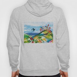Swallow in the fairytale, painted pattern for kids, colourfull illustration Hoody