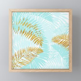 Aloha - Tropical Palm Leaves and Gold Metal Foil Leaf Garden Framed Mini Art Print