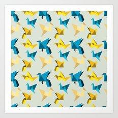 paper cranes in flight Art Print