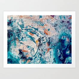 Reflections: a bold and interesting abstract mixed media piece in blues, yellows, orange, and white Art Print