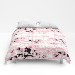 Lava Pattern Abstract Rosé and White Comforters