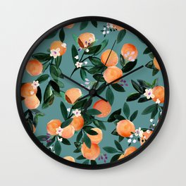 Dear Clementine - oranges teal by Crystal Walen Wall Clock