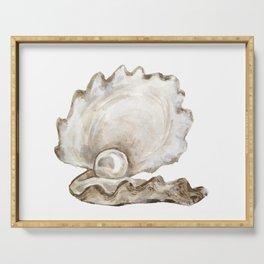 Watercolor Seashell Painting on White 2 Minimalist Coast - Sea - Beach - Shore Serving Tray