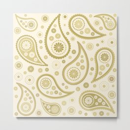 Paisley Funky Design Gold & Cream Metal Print