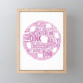 Pickleball Ball design Art Words design Gift Pink Framed Mini Art Print