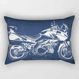 20-2012 Suzuki V-Strom 1000 SE, blueprint motorcycle, man cave decoration Rectangular Pillow