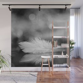 White Feather In Black And White Bokeh Background #decor #society6 #buyart Wall Mural