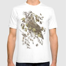 Great Horned Owl LARGE Mens Fitted Tee White