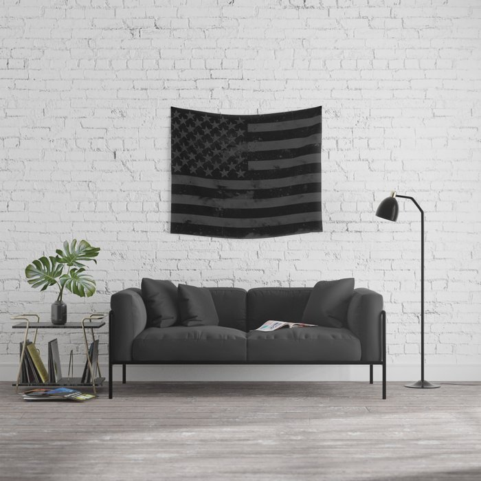 Black American Flag Wall Tapestry