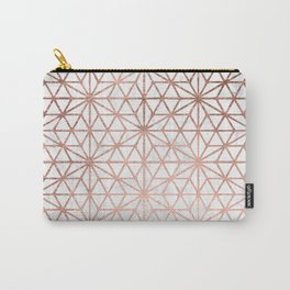 Modern rose gold stars geometric pattern Christmas white marble Carry-All Pouch