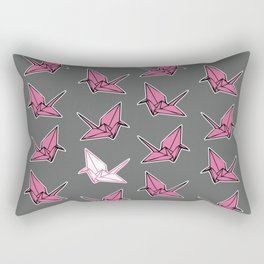 PAPER CRANES PINK AND GREY Rectangular Pillow
