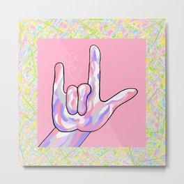 ASL I Love You in PINK Metal Print