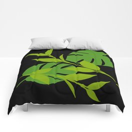 Simply Tropical Leaves with Black Background Comforters