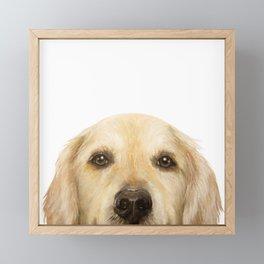 Golden retriever Dog illustration original painting print Framed Mini Art Print