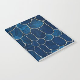 Stratosphere Sapphire // Abstract Blue Flowing Gradient Gold Foil Cloud Lining Water Color Decor Notebook