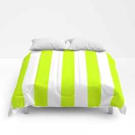 Electric lime green - solid color - white vertical lines pattern Comforters