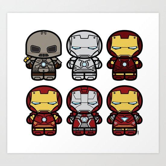 Chibi-Fi Iron Man Movie Armory Art Print