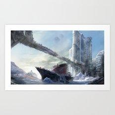 Icy harbour Art Print