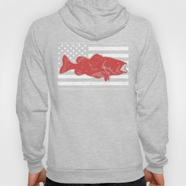 Retro American Flag & Bass Fishing Hoody