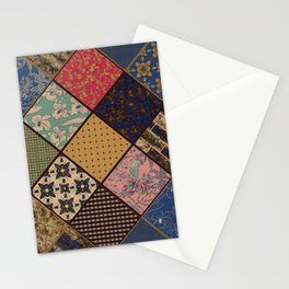 Rustic patchwork, Granny pattern, rustic, patchwork, fashion, folklore, popular, ethnic, multicolore Stationery Cards