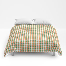 Small Orange White and Green Irish Gingham Check Plaid Comforters
