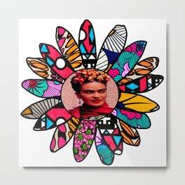 Kahlo Pink Flower Metal Print
