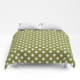 Olive Green and White Polka Dots Pattern Comforters