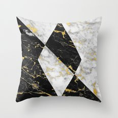Diamond // Gold Flecked Black & White Marble Throw Pillow