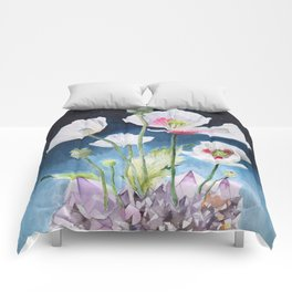 Papaver Somniferum and Amethyst Crystal on a Stary Night at Dawn Comforters