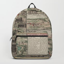 Vintage Map Print - View of the Harz Forest (1737) Backpack