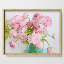 Dreamy Shabby Chic Ranunculus Peonies Roses Print - Spring Summer Garden Flowers Mason Jar Serving Tray