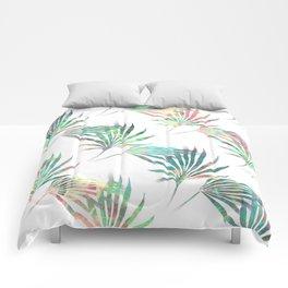 Palmetto Fronds Tropical Multicolor Pattern Comforters
