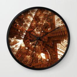 Cathedral shouting person fractal digital illustration Wall Clock