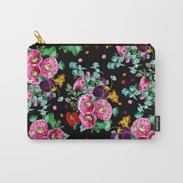 Modern vintage floral pink purple orange bouquet polka dots on black Carry-All Pouch