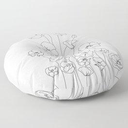 Poppy Flowers Line Art Floor Pillow