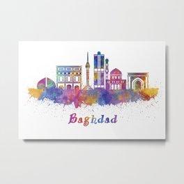 Baghdad skyline in watercolor Metal Print