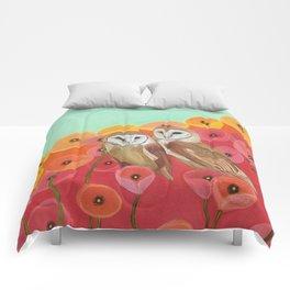 Owls in a Poppy Field Comforters
